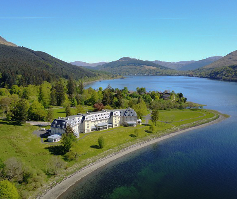 The Ardgartan Hotel from above, available in an array of different coach tour packages.