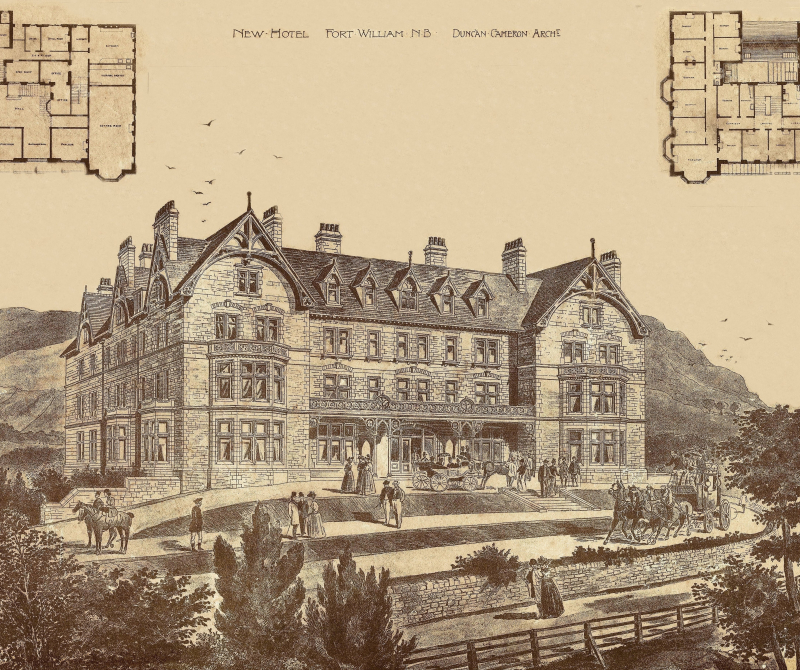 A historical drawing of Lochs & Glens' Highland Hotel