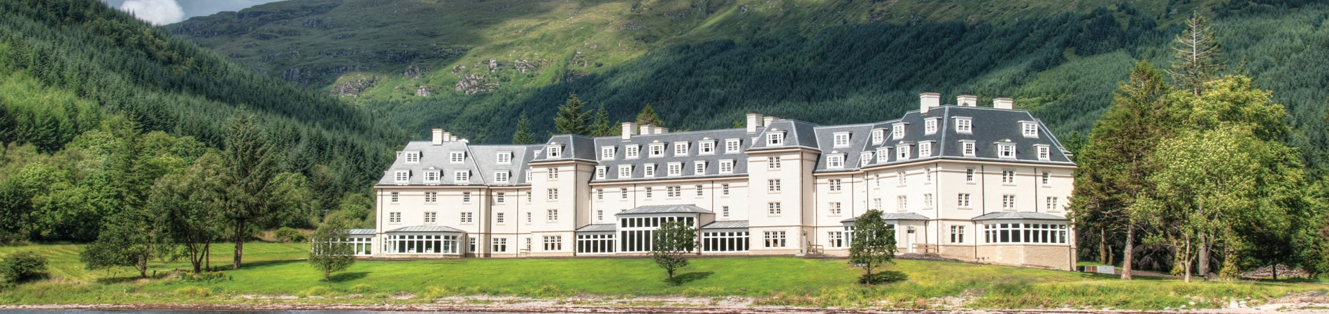 Ardgartan Hotel overlooked by the Arrochar Alps. Another gorgeous Lochs & Glens hotel